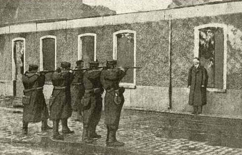 old newspaper photo of a firing squad